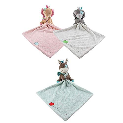 Sicherheits-Decken, beruhigend, weiches Plüsch-Zahntuch, Spielzeug für 0 bis 36 Monate, Baby Kleinkind – Kinder Jungen Mädchen Geschenk (3 Stück)
