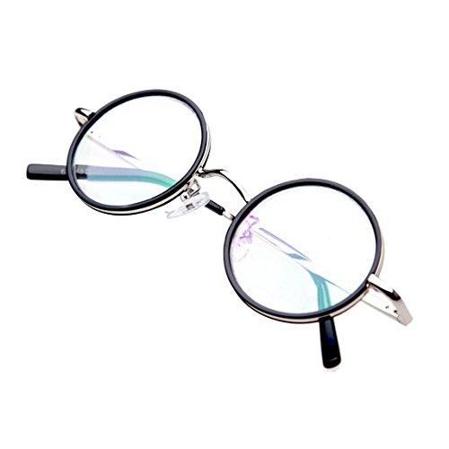 LR100 Antik-Stil Retro Lesebrille Nerd Brille Lesehilfe mit Etui Rund Rahmen +2.0