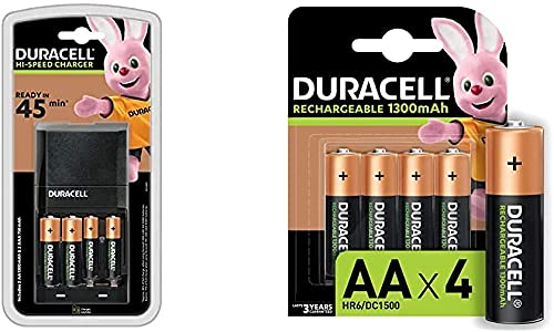 Duracell - Caricabatterie da 45 Minuti, con incluse batterie ricaricabili, 6 AA + 2 AAA