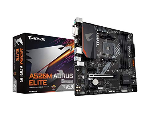 Gigabyte A520M AORUS Elite (AMD Ryzen AM4/MicroATX/5+3 Phases Digital PWM/Gaming GbE LAN/NVMe PCIe 3.0 x4 M.2/2 Display Interfaces/Q-Flash Plus/RGB Fusion 2.0/Motherboard)