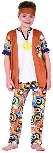 KULTFAKTOR GmbH Hippie-Kinderkostüm 60er Jahre Kostüm braun-Weiss-bunt 134/140 (10-12 Jahre)