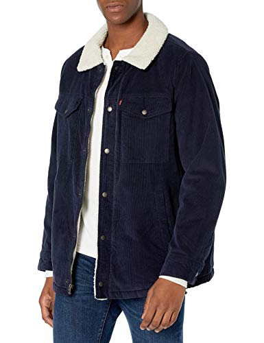 Levi's Men's Corduroy Sherpa Lined Trucker Jacket (Standard and Big & Tall), navy, X-Large