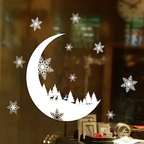 About1988 Schneeflocken Elch Weiß Weihnachtsdeko Wandaufkleber, Weihnachts Dekoration Aufkleber Home Schneeflocken Stadt Wandaufkleber Fensterbilder Weihnachtsdeko (Weiß)