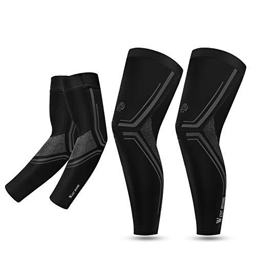 ICOCOPRO Protección solar UV, juego de manguitos para las piernas, compresión UPF 50, mangas largas para las piernas, cubiertas para los brazos de baloncesto, correr, ciclismo, golf, béisbol y fútbol