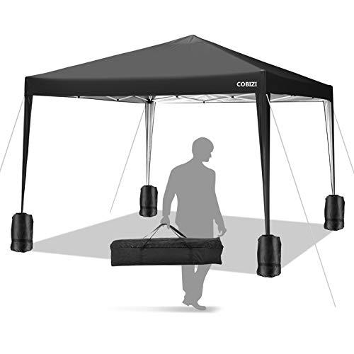 COBIZI Pavillon 3 x 3 WASSERDICHT, Pavillon inkl. Tasche wasserabweisend höhenverstellbar faltbar Pop-up Gartenzelt Partyzelt (schwarz)