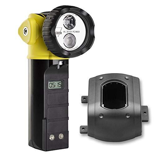 AccuLux 459881 - HL 30 EX POWER Lámpara de seguridad, cabezal flexible, Lámpara de mano a prueba de explosiones IP67 para uso en áreas peligrosas de gas y polvo, con cargador 12/24V