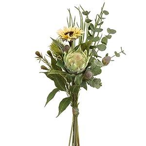 31″ Handwrapped Sunflower, Protea & Eucalyptus Silk Flower Stem Bundle -Yellow/Green (Pack of 4)
