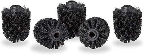 Wc borstelkop in een set van 5, losse toiletborstels 12mm draad, vervangen borstelkop diameter 8 cm, black leilims