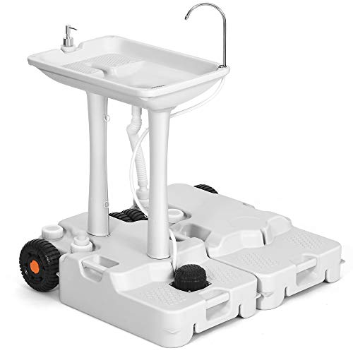 YITAHOME Portable Sink Camping 30L with Rolling Wheels,Hand Washing Station with 30L Sewage Tank,Rolling Wheels, Soap Dispenser, Towel Holder, Ideal for Outdoor,Travel, RV, Boat, Camper, Tripper