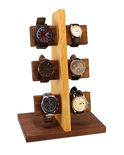 Wood Spot Uhrenständer für 6 Uhren Walnussholz-Kirschholz Echtholz, Uhrenhalter aus Premium-qualität Hölzer, Handgefertigt, Natur, Praktische Lösung für Solaruhren, Geschenke für Männer