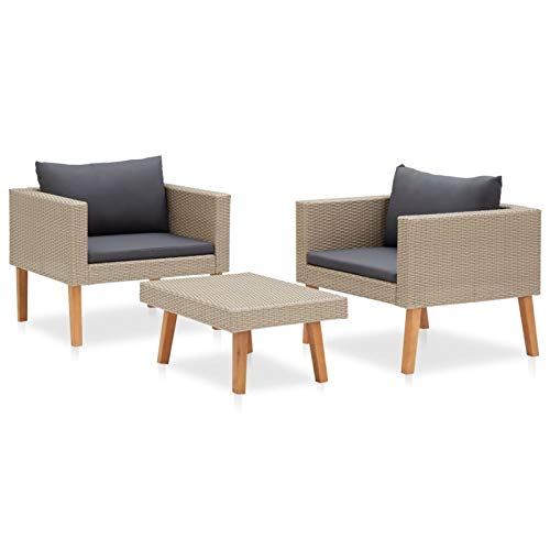 Tidyard Conjuntos de Muebles de jardín Set de Muebles de jardín 3 pzas y Cojines ratán sintético Beige