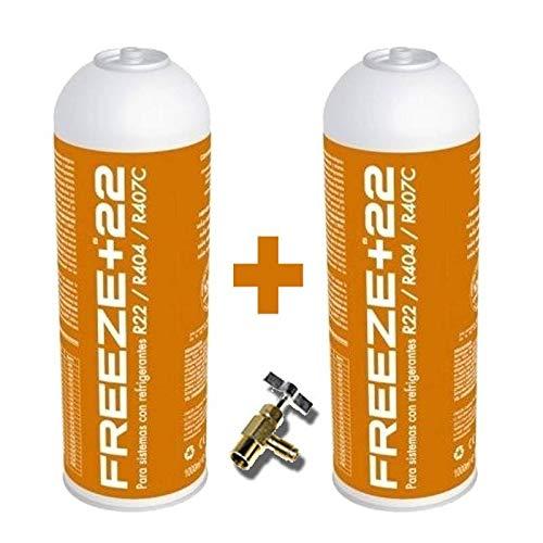 REPORSHOP - 2 Botellas Gas Refrigerante Freeze +22 400Gr + Valvula Organico Sustituto R22/R404/R407C/