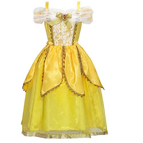 LOBTY Disfraz de Princesa Belle Vestido de Fiesta Cosplay para nias Halloween Nia Princesa Belle Disfraz Tul Fiesta Trajes Vestido