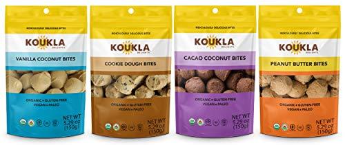 Koukla Delights – Variety Pack- Vanilla Coconut, Cacao Coconut, Cookie Dough, Peanut Butter Bites, Organic, Gluten-Free, Non-GMO, Vegan, Paleo and Kosher Bites (Assorted), 5.29 oz (Pack of 4)