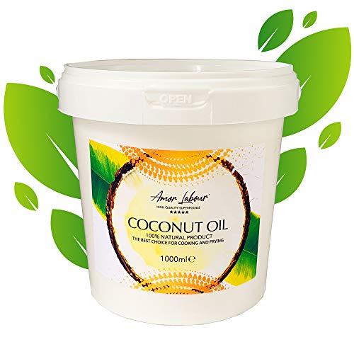 Amor Labour ® Kokosöl Kokosfett Kokosnussöl 3erPack(3x1000ml) | 100{7ab79d8fd1835066143ce4db2dd90dedadaeab60d61afaa673b8b8ab2ba553a5} Natural Coconut Oil | Superfood-Vegan | Raffiniert - Duftfrei und Geschmacksneutral | Zum Braten, Kochen und Backen
