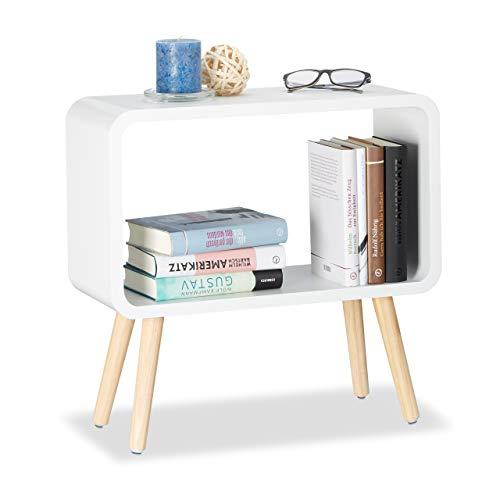 Relaxdays Tavolino da Salotto e Comodino Basso, Legno, Bianco, 50 x 53 x 20 cm