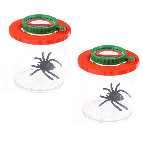 CoscosX 2 Pcs Bug Insect Viewer,Insects Microscope Box Double-Lens Magnifying Bug Viewers Jars for Kids Children Educational