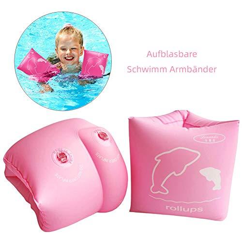 Lemandii Kinder Schwimmflügel, Schwimmreifen Schwimmen Armbands für Kinder von 5-10 Jahre, 20-55 kg (Rosa)