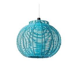 LUSSIOL Luminaire Korba turquoise, suspension rotin, 60 W, bleu, ø 30 x H 24 cm
