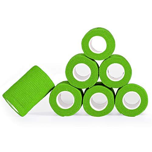 YUMAI vendaje cohesivo de primeros auxilios cinta autoadhesiva 7.5CM,10CM Paquete de 12 aprobado por la FDA (7.5CM (Paquete de 6), Verde Oliva)