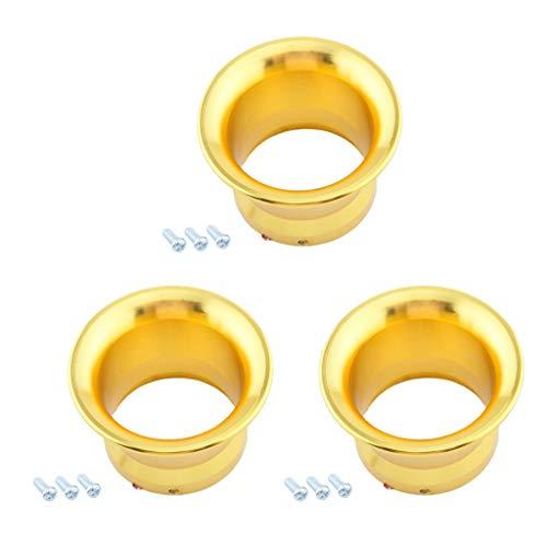 SDENSHI 3 pcs. 50mm Luftfitler Ansaugtrichter Vergaser Ansaugstutzen Trichter aus Aluminium, geeignet für PWK26 / 28 Series, Gelb