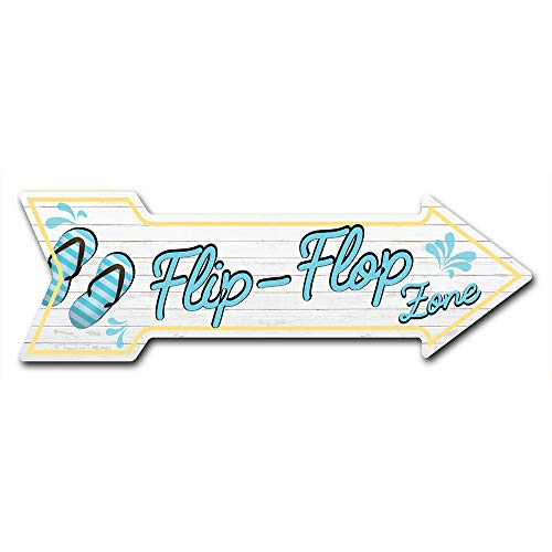 """SignMission Decal Art Flip Flop Zone Decal Indoor/Outdoor Decor 24"""" Directional Sticker Vinyl Wall Decals (D-A-999867)"""