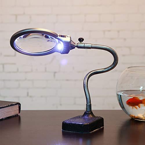 GZ Lupa de sobremesa Lámpara de Escritorio 2 Luces LED 10X 20X...