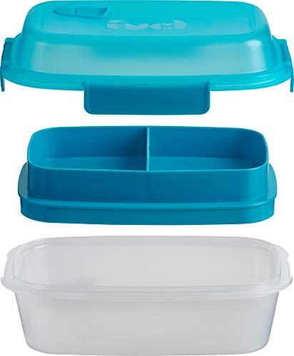 Fuel Summit Bento. Envase para llevar comida, hermético y antigoteo, con 3 compartimentos separados. Apto para microondas y para lavavajillas. Libre de BPA