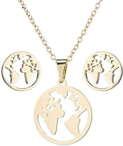 duoyunxiayu Collar Vintage Mapa del Mundo Conjuntos de Acero Inoxidable Gargantilla Collar de Cadena Mujeres Tierra Collares Pendientes Joyería para Regalo de año Nuevo