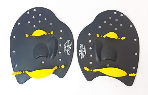 SWIMXWIN Palette PALMARI Power Nuoto Professionale Forma ergonomica Allenamento Piscina corredate da Elastico (Medium, Nero/Giallo)