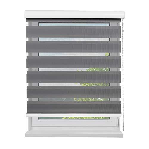 Fensterdecor Doppel-Rollo mit Aluminium-Kassette, Rollo für Fenster mit seitlichem Kettenzug, Seitenzug-Rollo mit Blende in Grau für Innen-Bereich, lichtdurchlässig u. verdunkelnd, 140 x 180 cm