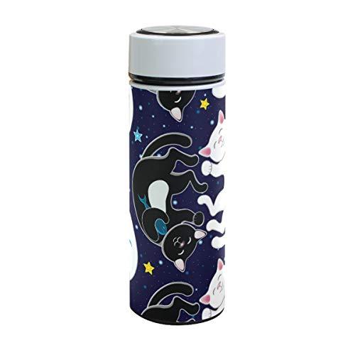 Emoya Edelstahl-Vakuum-Isolierbecher 500 ml schwarz und weiß Happy Cats Fische Sternen-Wasserflasche 417 oz