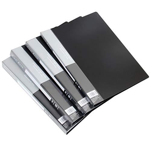 Carpetas para Archivo Hoja de Moda Presentación del Libro A4 Organizador Escritura Clara con un 20-Hoja de Bolsillo Protector Bound Presentación Libro, útiles Escolares/Office (Negro) Clasificador D