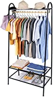 Standing clothes rack with top rod