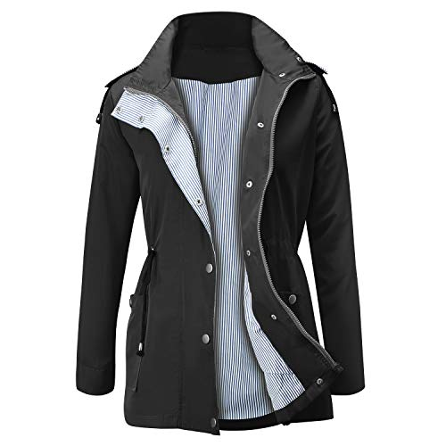 JASAMBAC Raincoat Women Waterproof Hooded Trench Coats Lined Windbreaker Travel Jacket Black L