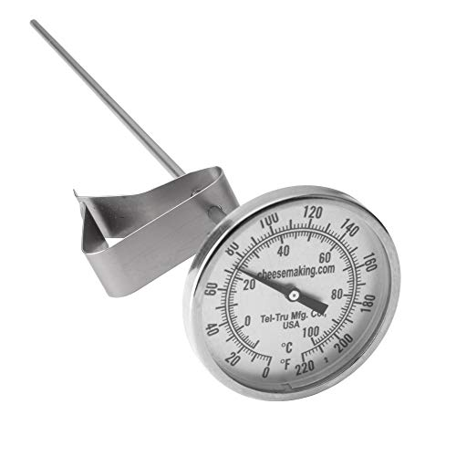 """Tel-Tru 12"""" Stainless Steel Cheesemaking Thermometer 0/220 degrees F"""