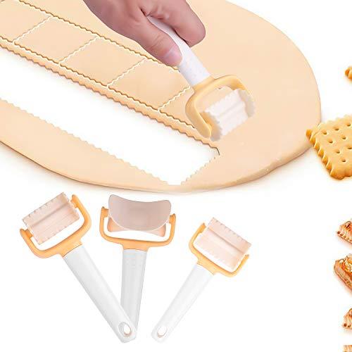 Colmanda Cookie Cutter 3 Pièces Kit de Moule à Biscuit Plastique Découpoir Multifonctions Accessoires De Cuisine Outil pour Pizza Gâteau Pain DIY Outil de décoration