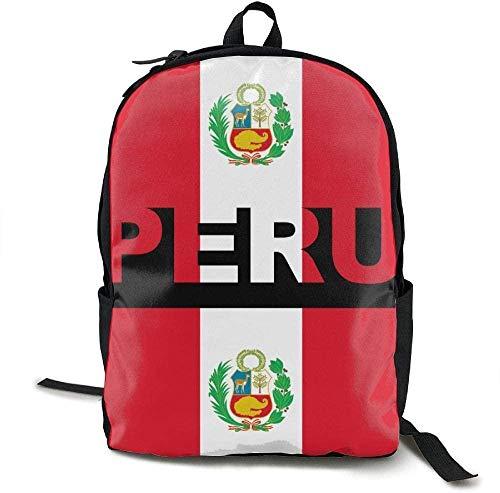 Mochila Impresa En 3D,Mochila Escolar con Estilo,Mochilas Informales con Personalidad para Niñas Y Niños,Mochila De Viaje con Bandera De Perú para Adultos,Mochila Escolar,Bolsas De Viaje para Comp