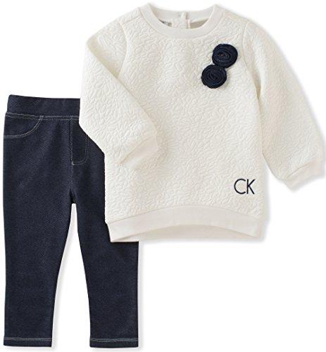 Calvin Klein Baby Girls' Tunic Legging Set, Vanilla/Denim, 6-9 Months