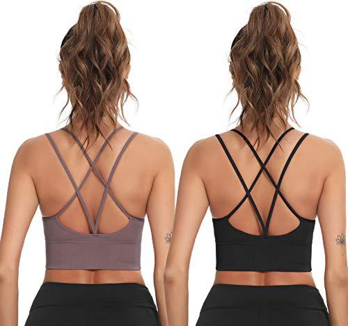Enjoyoself Damen Sport-BH Yoga BH Bügellos Push Up Sports Bra mit Kreuz Rücken Chic Sport Bustier für Leicht Sport oder Alltag,Schwarz+Lila,XL