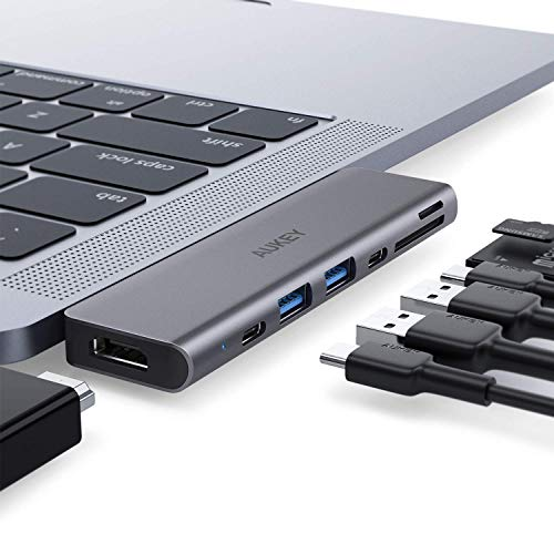 AUKEY Hub USB C MacBook PRO (7 in 1) con 4K HDMI, Thunderbolt 3, 2 Porte USB 3.0, Porta Dati USB-C, Lettore di Schede SD/Micro SD Adattatore USB C per MacBook Air 2018/2019 e MacBook PRO 2019-2016