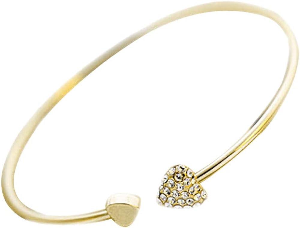 Bracelet for Women Heart Crystal Love Opening Bracelet Acrylic Colored Gemstone Star Pattern Synthetic Crystal Diamond Bangle Bracelet Women Girls Jewelry Gift Crystal Bracelet
