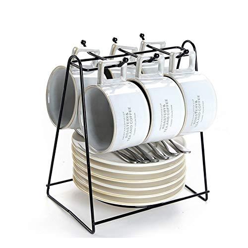 Haushalt Keramik Kaffeetasse mit Becherhalter Set 6 Tassen, Espressotassen Nachmittag europäischen und amerikanischen Stil kleinen Kaffeetasse (Color : White)