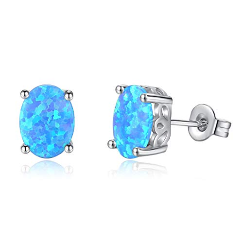 Wiftly Women's Round Stud Earrings 925 Silver Synthetic Opal Earrings in Blue, Gift Birthday Christmas Valentine's Day
