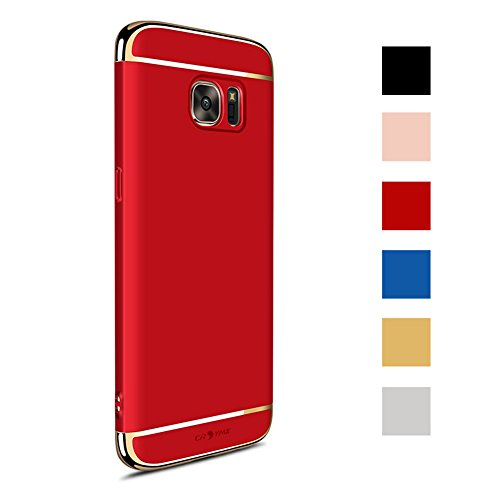 CROSYMX Galaxy S7 Case Back Cover, Ultra Slim & Rugged Fit Shock Drop Proof Impact Resist Hard Protect Case for Samsung Galaxy S7 (5.1'')(2016) - Red