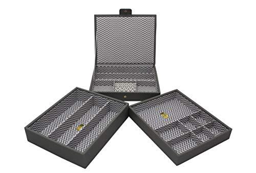 CORDAYS - Joyero Apilable Artesanal: Set de Tres bandejas apilables Edición Limitada Colección de Moda. Gris CDL-10064