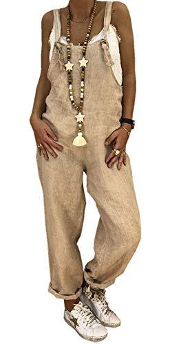 Ajpguot Damen Beiläufig Latzhosen Jumpsuits Leinen Bib Hose Casual Loose Overall Lange Wide Leg Hosen (XL, Khaki)