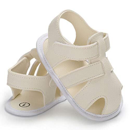Geagodelia Baby Girl Boy Sandali Bambino In Pelle PU Stivaletti Neonato Morbida Sole Prewalker Bambino Sandali Estate bianco 6-12 Mesi