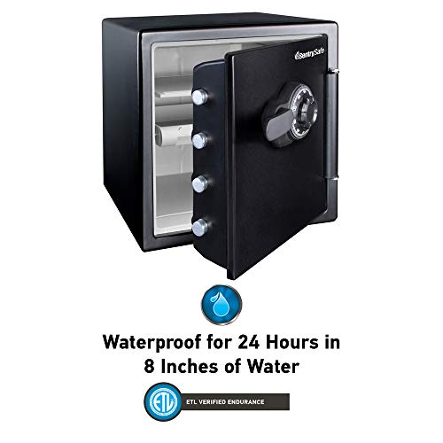 SentrySafe SFW123CU Fireproof Waterproof Safe with Dial Combination, 1.23 Cubic Feet, Black