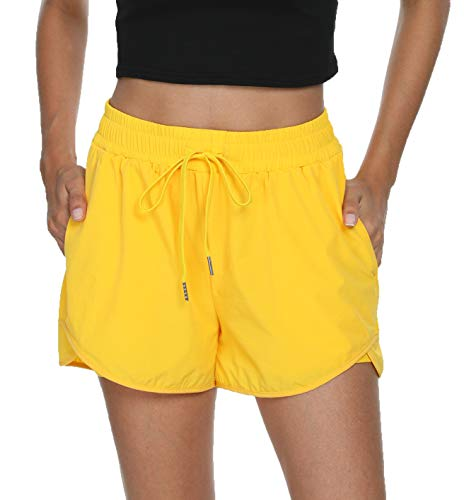 Taydey Women's Quick-Dry Running Workout Sports Shorts(Yellow 2XL)